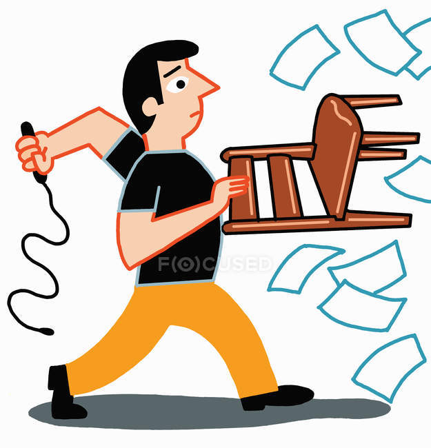 Man holding chair and whip taming paperwork — Stock Photo