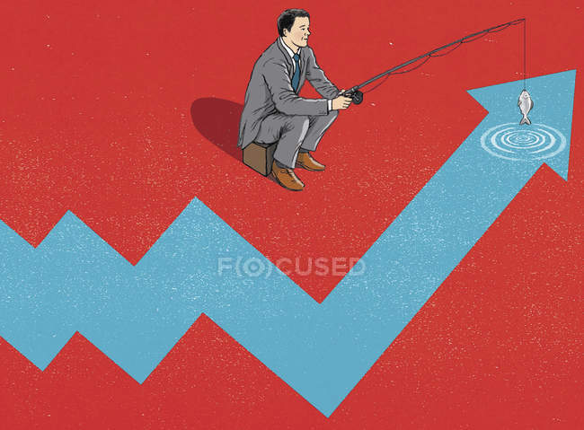 Businessman fishing in ascending line graph — Stock Photo