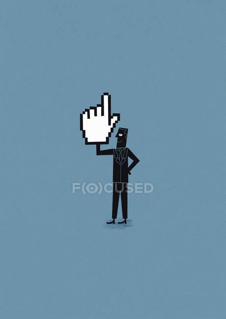 Hombre seguro sosteniendo la mano del cursor - foto de stock