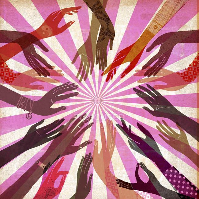 Women reaching to sun with hands — Stock Photo