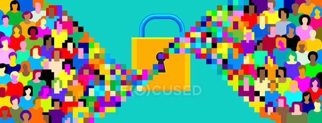 Pixelated crowd streaming into padlock — Stock Photo