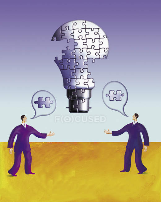 Two businessmen talking and building up light bulb made of puzzle pieces — Stock Photo