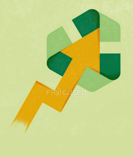 Flèche et symbole de recyclage sur le fond vert — Photo de stock