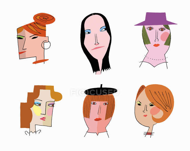 Лица шести женщин, изолированных на белом — стоковое фото