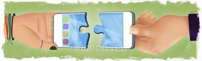 Hands connecting two pieces of cell phone — Stock Photo