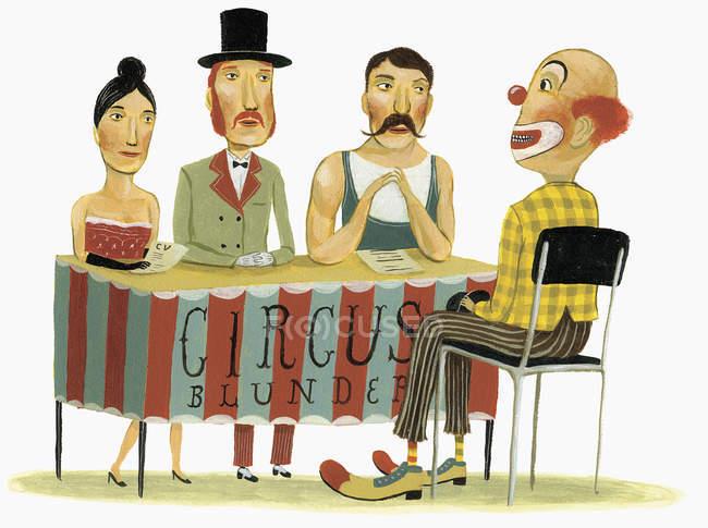 Цирк панели интервью клоуна — стоковое фото