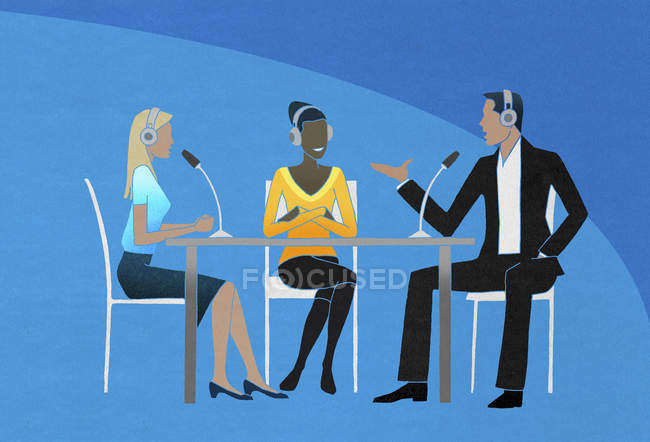 Two women and man having an interview — Stock Photo