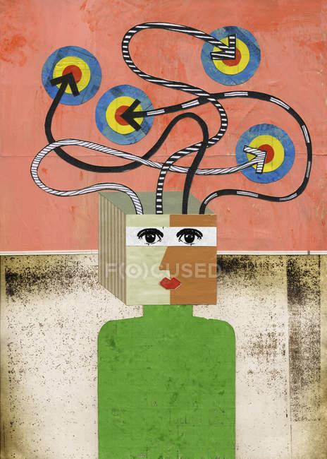 Femme avec flèche et cheveux cibles — Photo de stock