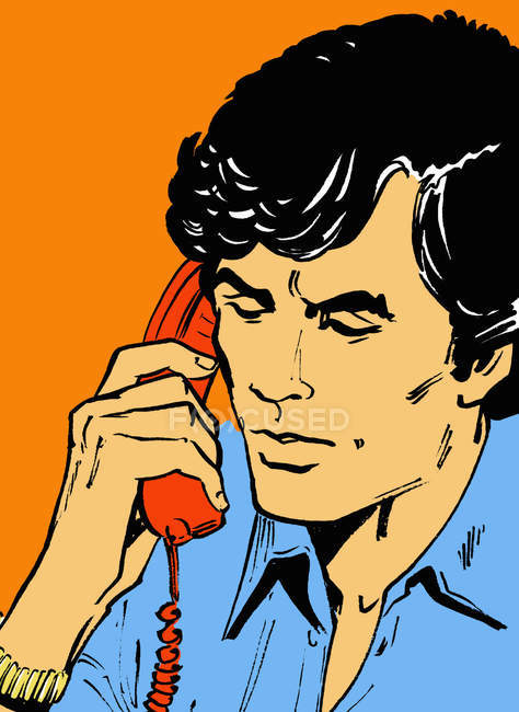 Man talking on telephone — Stock Photo