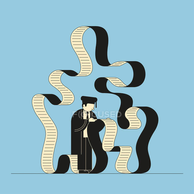 Graduate reading infinite bill — Stock Photo