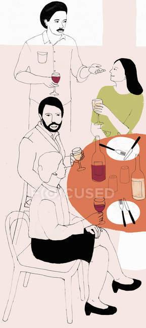 Amigos socializar e beber vinho tinto — Fotografia de Stock