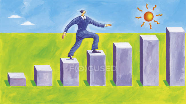 Confident businessman walking on steps of a bar chart — Stock Photo