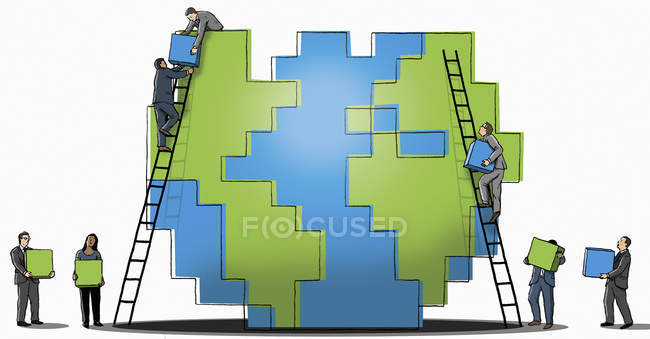 Businessmen and businesswoman building up cube wall together — Stock Photo