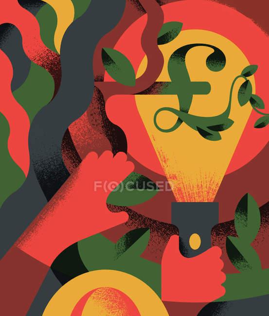 Pessoa que usa tocha com símbolo de Libra Esterlina em undergrowth — Fotografia de Stock