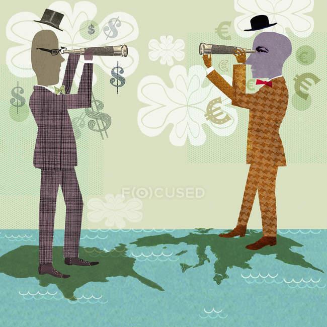 Deux hommes d'affaires sur la carte du monde regardant par des télescopes — Photo de stock