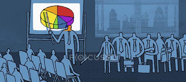 Бизнесмен делает презентацию коллегам — стоковое фото