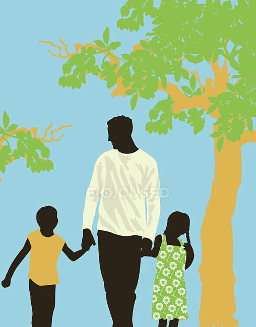 Father walking in park with children — Stock Photo