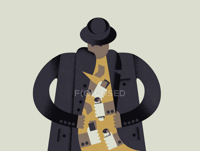 Man opening coat with hands exchanging Pound notes inside — Stock Photo