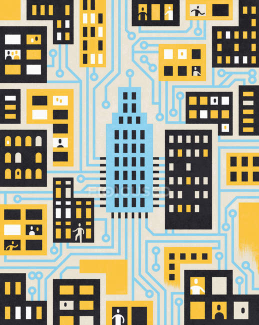 People and houses in city connected by circuit board — Stock Photo