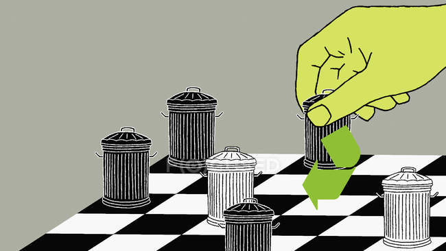 Trash cans chess pieces — Stock Photo