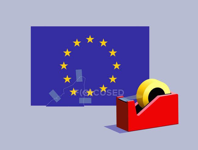 Fita adesiva que reingressa a estrela faltante à bandeira européia da União — Fotografia de Stock