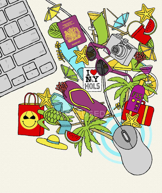 Computer mouse with vacation objects — Stock Photo