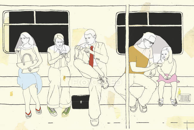 People using mobile devices in subway — Stock Photo
