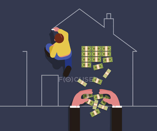 Man drawing outline of house with businessman taking money from inside — Stock Photo