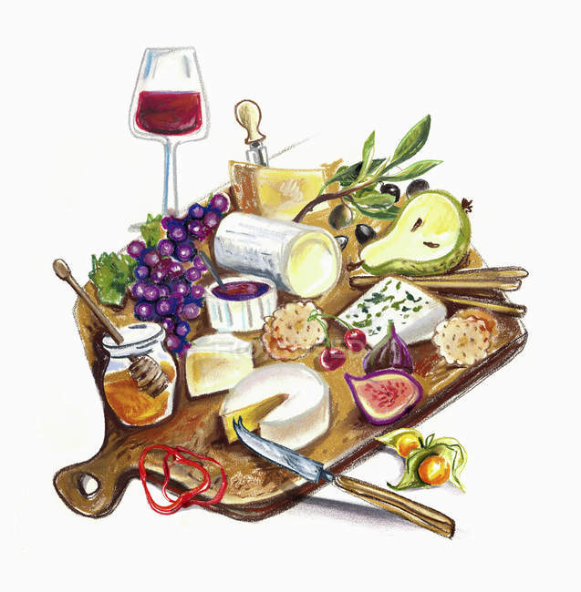 Assortment of fruits and cheese — Stock Photo