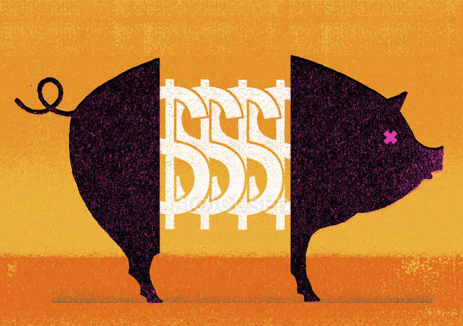 Dollar signs in middle of pig — Stock Photo
