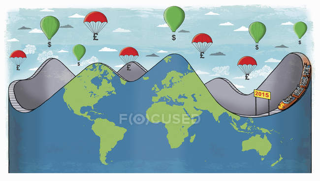 Global roller coaster with money balloons above — Stock Photo