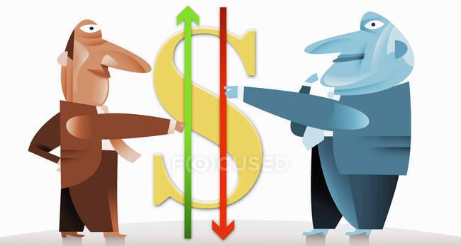 Businessmen holding arrows next to dollar symbol — стоковое фото