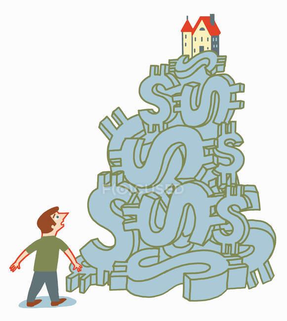 Homem olhando em casa em cima de montão de sinais de dólar — Fotografia de Stock