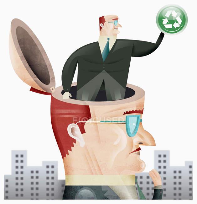 Бізнесмен з бізнесменом в голові — стокове фото