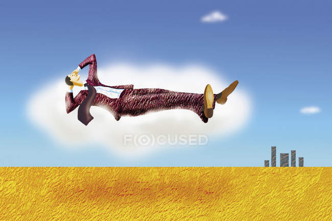 Relaxed businessman floating in the sky — Stock Photo