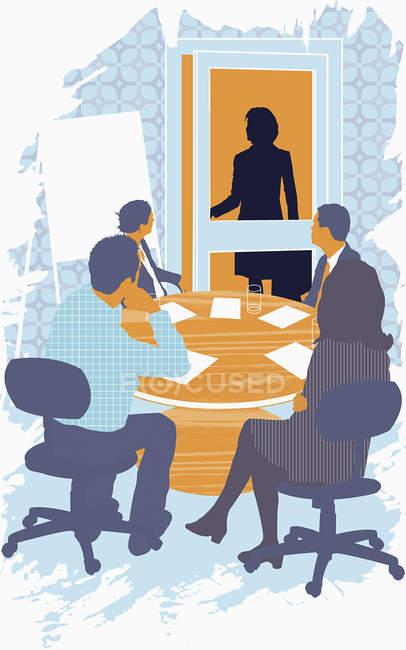 Женщина идет на деловую встречу — стоковое фото