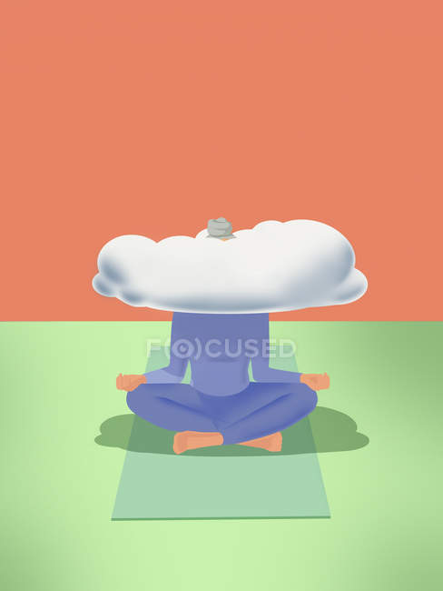Woman practicing yoga with head in clouds — Stock Photo
