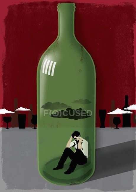 Homme dans la bouteille de vin — Photo de stock