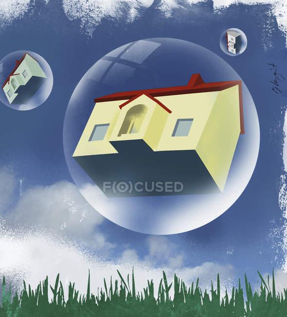 Casas em bolhas flutuando no céu — Fotografia de Stock