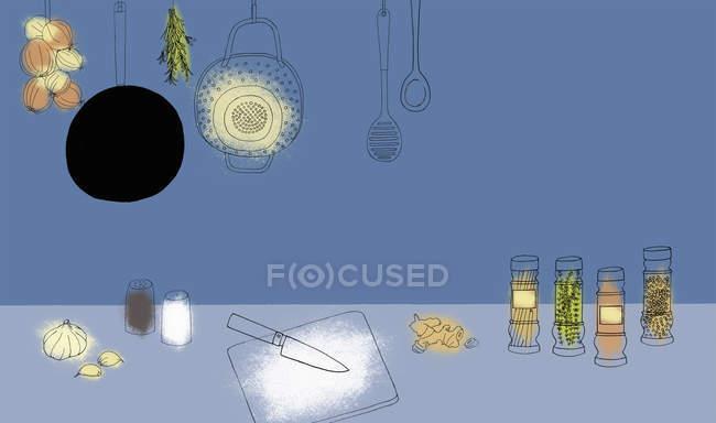 Gewürze und Küchenutensilien — Stockfoto