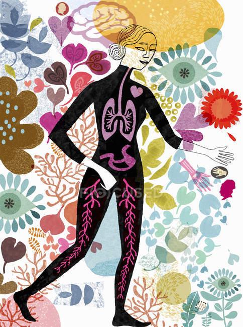 Mulher com órgãos internos visíveis rodeada por flores — Fotografia de Stock