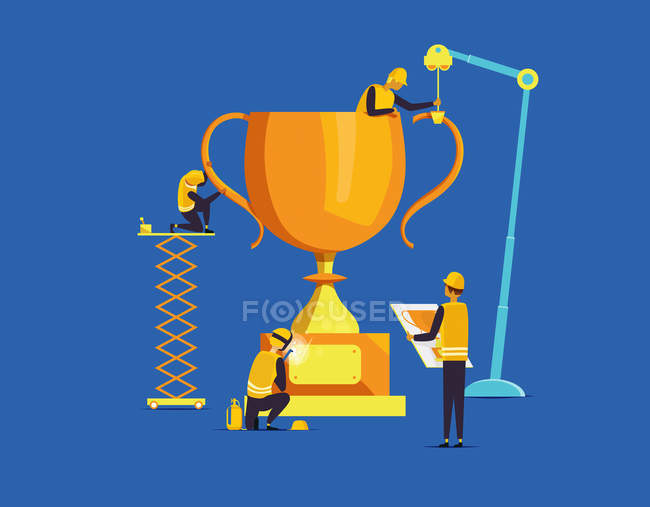 Builders assembling large trophy — Stock Photo
