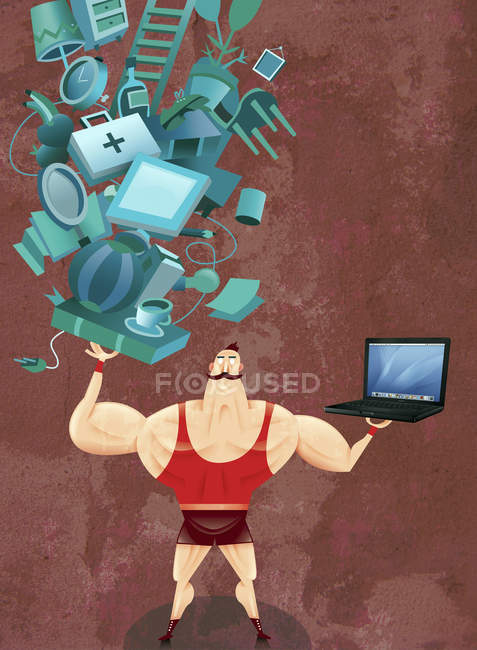 Strong man balancing laptop and household items — Stock Photo