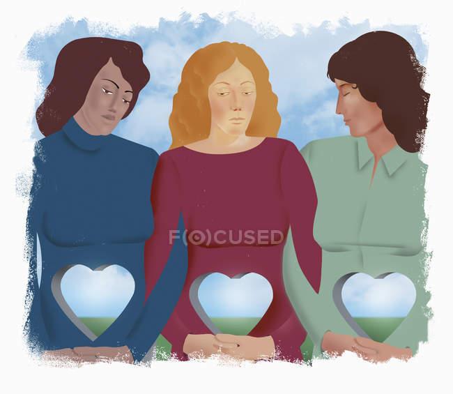 Mulheres tristes com os furos Heart-shaped em seus corpos — Fotografia de Stock