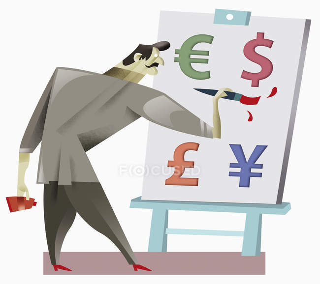 Man painting currency symbols — Foto stock
