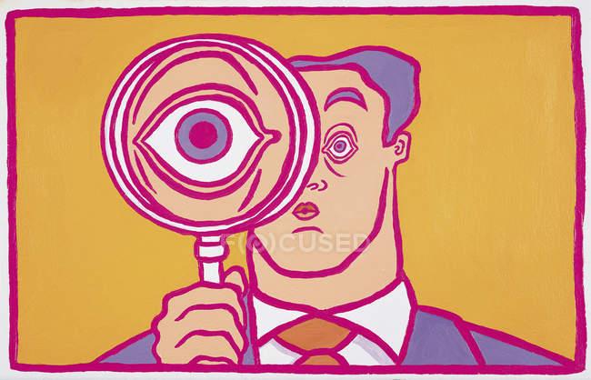 Large eye of businessman behind magnifying glass — Stock Photo
