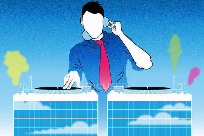 DJ sur platines sur fond bleu — Photo de stock