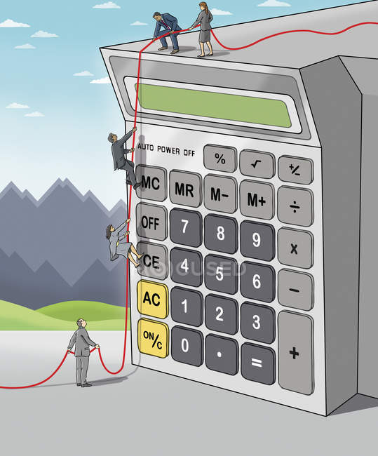Business people climbing on calculator together — Stock Photo