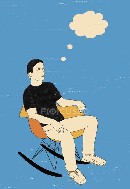 Bolha de pensamento acima sentado adolescente — Fotografia de Stock
