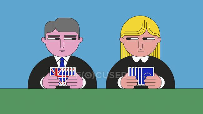 Os políticos do Reino Unido e da União Europeia mantêm os seus cartões perto do peito — Fotografia de Stock